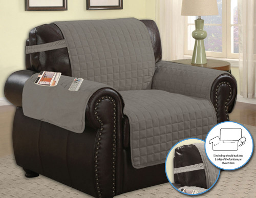 ... Quilted Microfiber Pet Dog Couch Furniture Protector With Side Pocket,  Tucks U0026 Strap ...