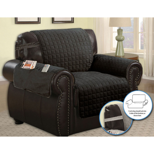 Quilted Microfiber Pet Dog Couch Furniture Protector With Side Pocket, Tucks & Strap Main