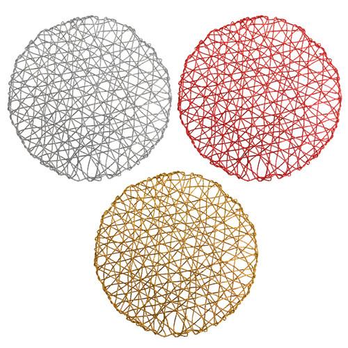 Set of 4 Holiday Decorative Round Woven Metallic Foil Shining Placemats, Chargers - Red, Gold, Silver