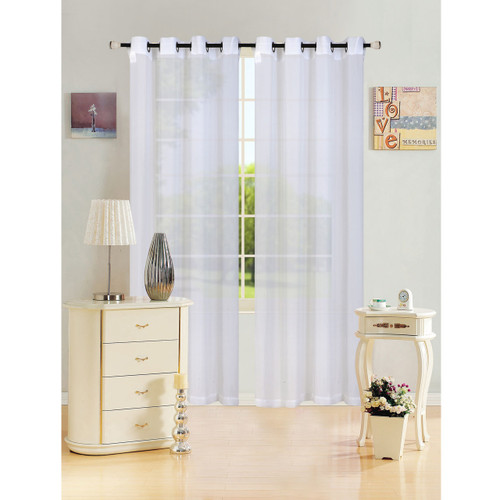 """Sheer Voile Window Curtain Panel With Metal Grommets, Solid Color, Leah, 55"""" X 84"""" - 1 Panel"""