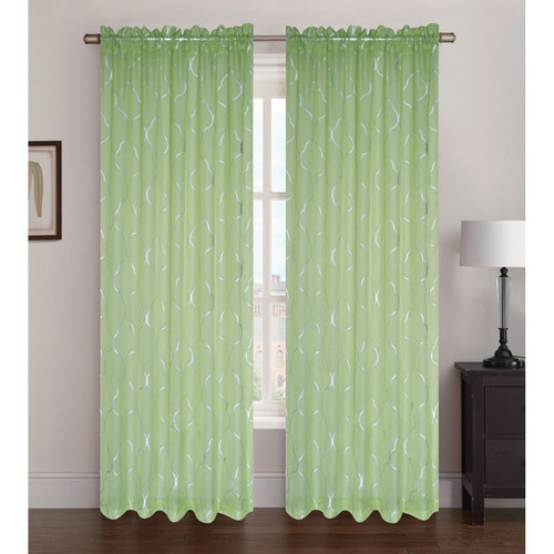 """Sheer Voile Window Curtain Panel With Rod Pocket, Printed Silver Lattice Pattern, Ava, 55"""" X 84"""""""