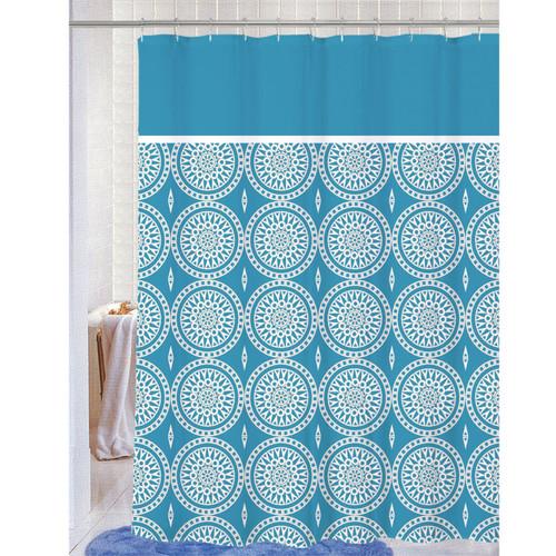 Soft Microfiber Fabric Printed Shower Curtain, Geometric Medallion Design,70x72, Blaire
