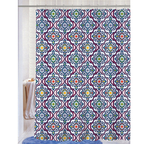 Soft Microfiber Fabric Printed Shower Curtain, Geometric Damask Design, 70x72, Andi (K-SC047495)