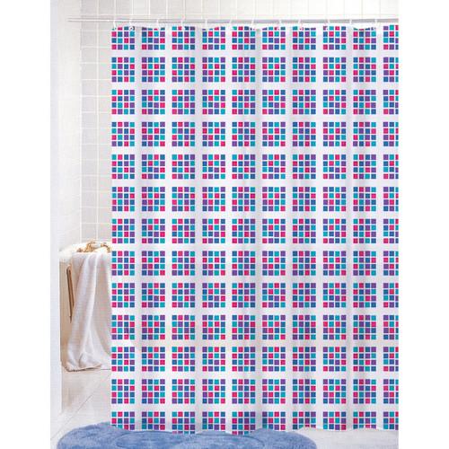 PVC Free (PEVA) Printed Shower Curtain, Colorful Geometric Squares / Checks Print, 70x72, Becca (K-SC039780)
