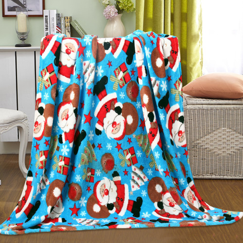 Holiday Christmas Throw Blanket, Soft & Plush, 50x60, Santa