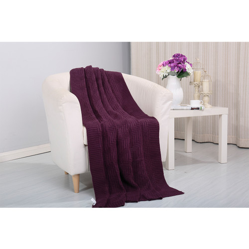 Pietra Knitted Throw Couch Cover Sofa Blanket, 50x60, Purple -Main