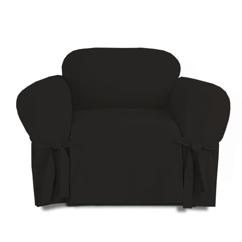 Linen Store Microsuede Slipcover, Furniture Protector Cover Chair  Black