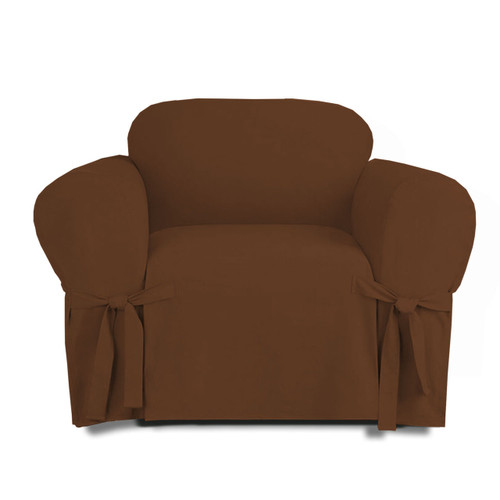 ... Linen Store Microsuede Slipcover, Furniture Protector Cover Chair Brown  ...