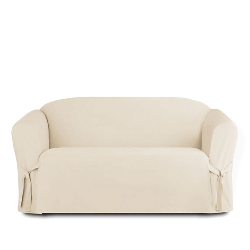 ... Linen Store Microsuede Slipcover, Furniture Protector Cover Loveseat  Beige ...