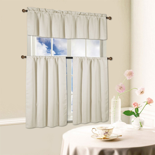 Beth 3 Piece Energy Efficient Blackout Window Kitchen Curtain Set  Beige