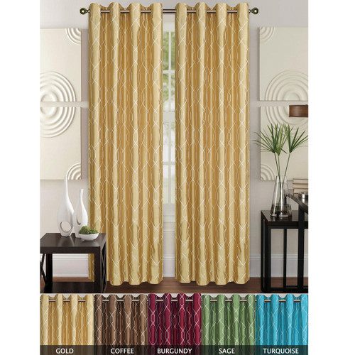 "Faux Silk Geometric Embroidered Decorative Curtain Panel with Grommets, Rita 55""x84"", Single Panel"
