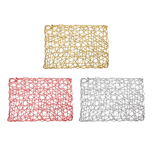"""Set of 4 Holiday Decorative 12""""x18"""" Rectangle Woven Metallic Foil Shining Placemats, Chargers - Gold, Red, Silver"""