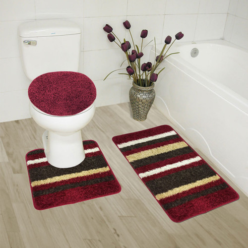 Abby 3 Piece Bathroom Rug Set, Bath Rug, Contour Rug, Lid Cover, High Pile Polypropylene Rug Set