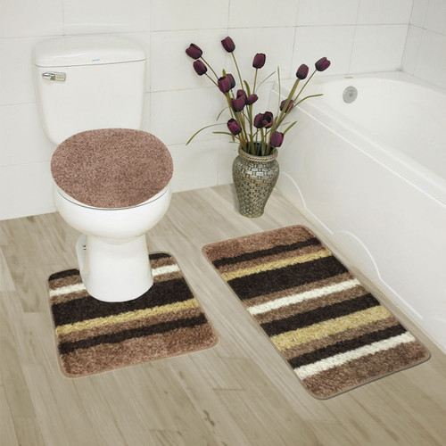 ... Abby 3 Piece Bathroom Rug Set, Bath Rug, Contour Rug, Lid Cover, ...