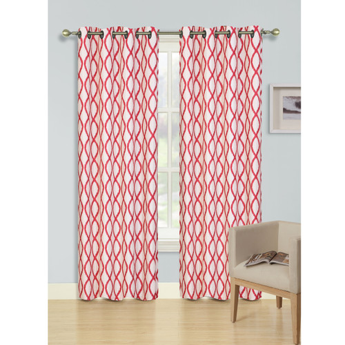 "Harper Collection Abstract Trellis Print Decorative Grommet Window Curtain, 54""x 84"", Single Panel"