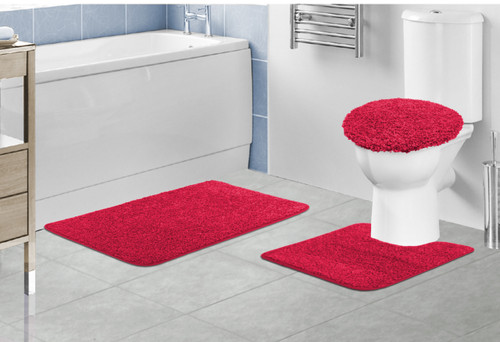 ... Layla Oversized 3 Piece Shaggy Bathroom Rug Set, Bath Mat, Contour Rug,  Lid ...