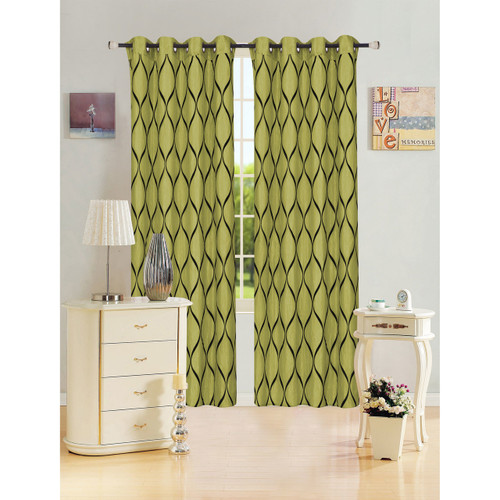 "Kashi Home Bianca Collection Decorative Window Treatment Curtain Panel 54""x 84"" Organza w/ Flocked Abstract Lattice Design - Single Panel, Grommet Top"