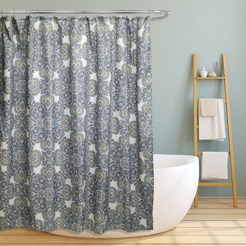 "Fabric Canvas Shower Curtain, 70""x70"", Amy, Geometric Paisely Floral Design (LS-SC026037)"