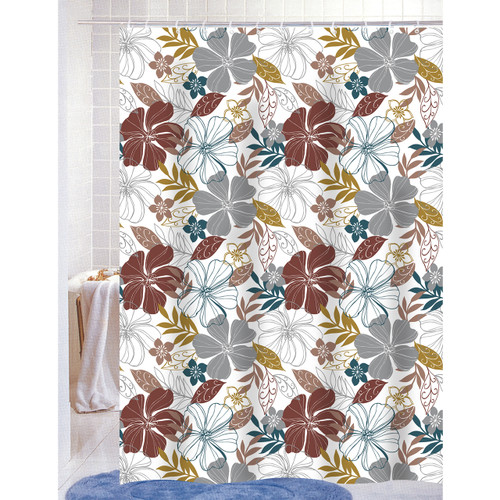 Mia PEVA Vinyl 70x72 Shower Curtain With Matching Metal Hooks, Floral Print (K-SC053014)