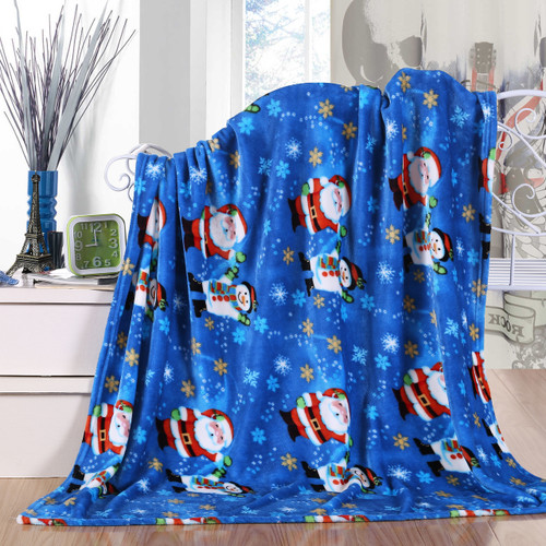 Holiday Christmas Throw Blanket, Soft & Plush, 50x60, Santa-Snowman