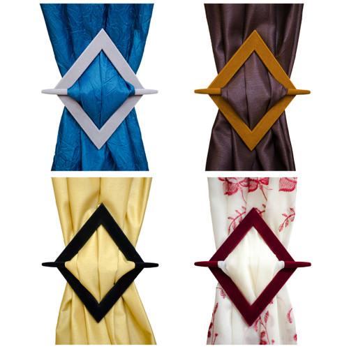 Set of 2 Diamond Flocked Decorative Curtain Holdbacks, Tie Backs, Black, Burgundy, Gold, Taupe