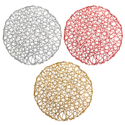 Placemats Chargers Set Of 4 Holiday Decorative Round Woven