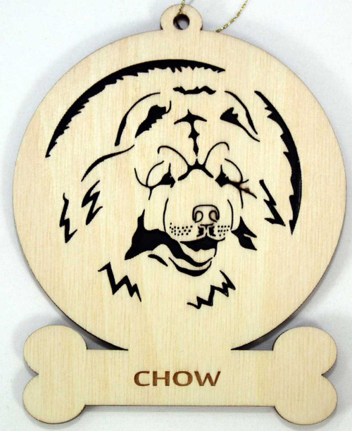 Wood Chow Dog Ornament with the breed name laser engraved on the bone in front.