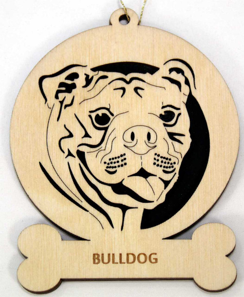 Wood Bulldog Dog Ornament with the breed laser engraved on the bottom front.