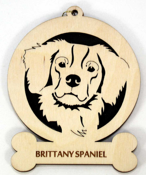 Wood Brittany Spaniel Dog Ornament with breed name laser engraved on the lower front.