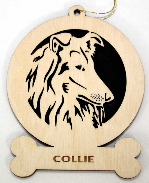 Wood Collie Dog Ornament with the breed laser engraved on the lower front of the ornament.