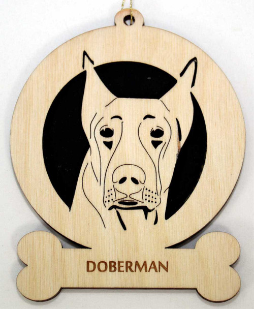Wood Doberman Dog Ornament with the breed laser engraved on the lower front of the ornament.