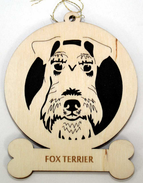 Wood Fox Terrier Dog Ornament with the breed laser engraved on the lower front of the ornament.
