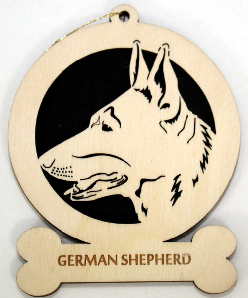 Wood German Shepherd Dog Ornament with the breed laser engraved on the lower front of the ornament.