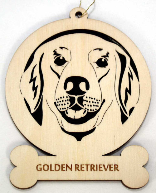 Wood Golden Retriever Dog Ornament with the breed laser engraved on the lower front of the ornament.