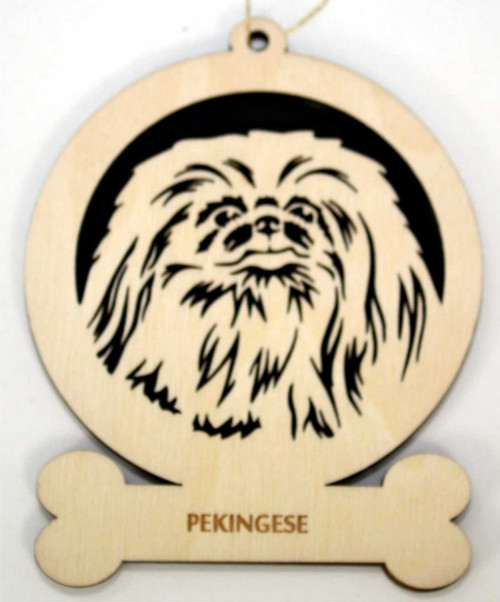 Wood Pekingese Dog Ornament with the breed laser engraved on the lower front of the ornament.