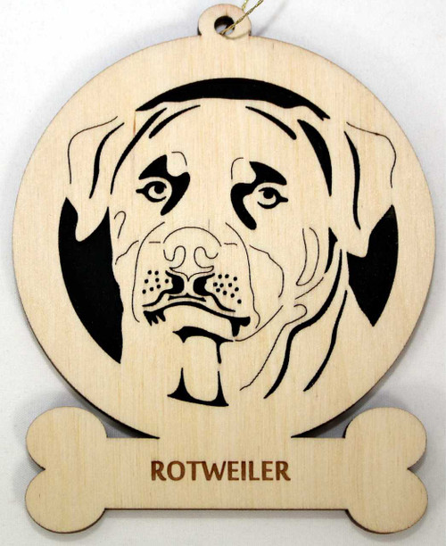 Wood Rottweiler Ornament with the breed laser engraved on the lower front of the ornament.