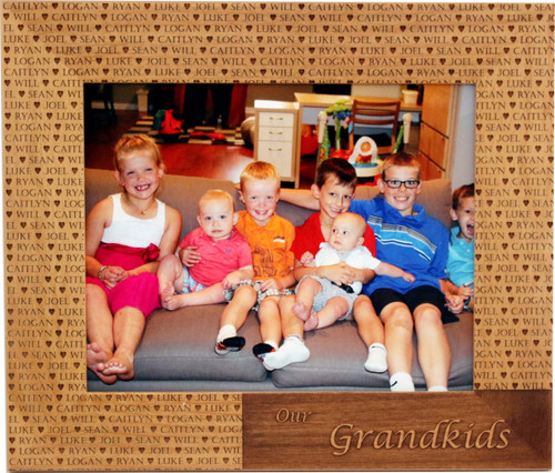 Grandkid Name Frame with Kids names engraved throughout frame.