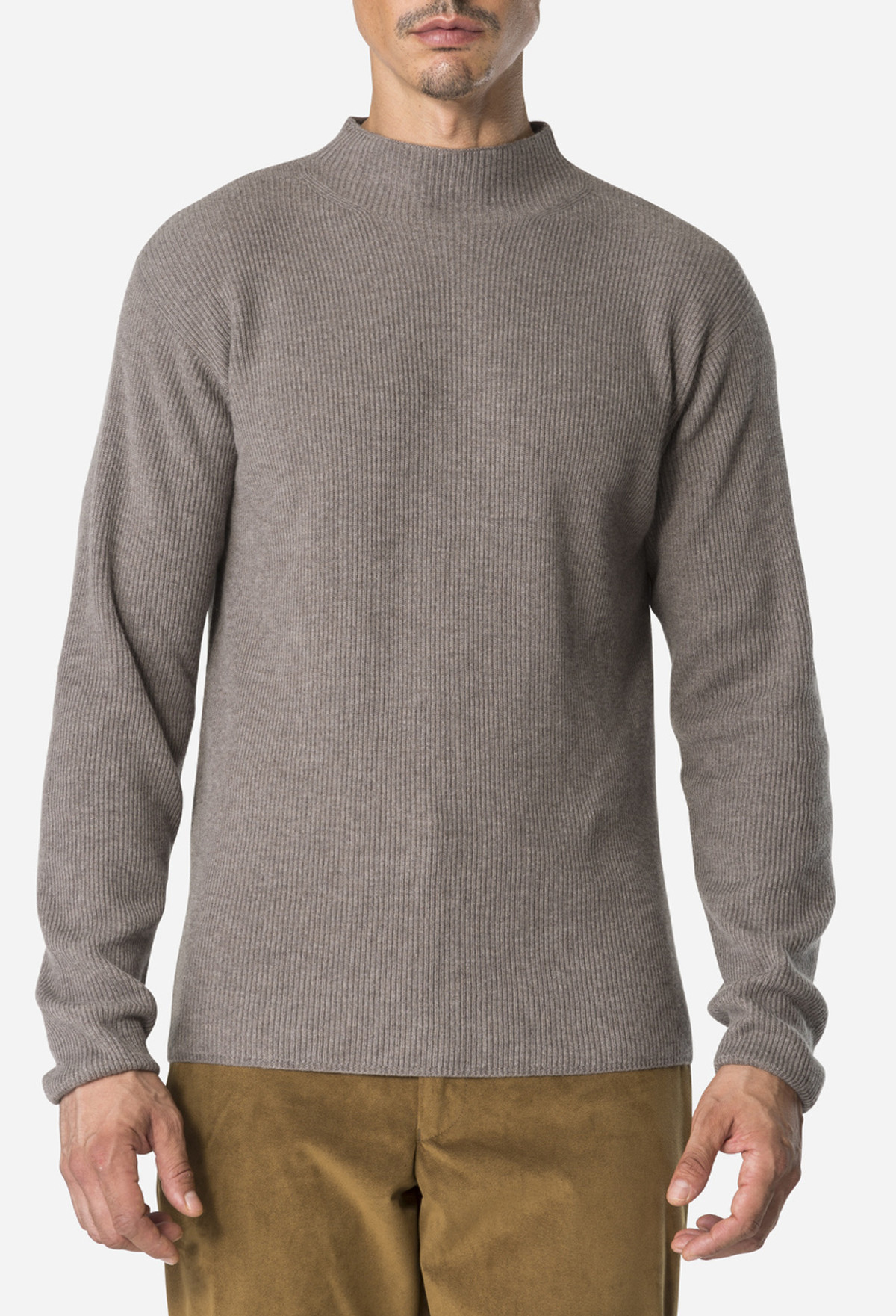 Brown Melange Rib Turtle Neck
