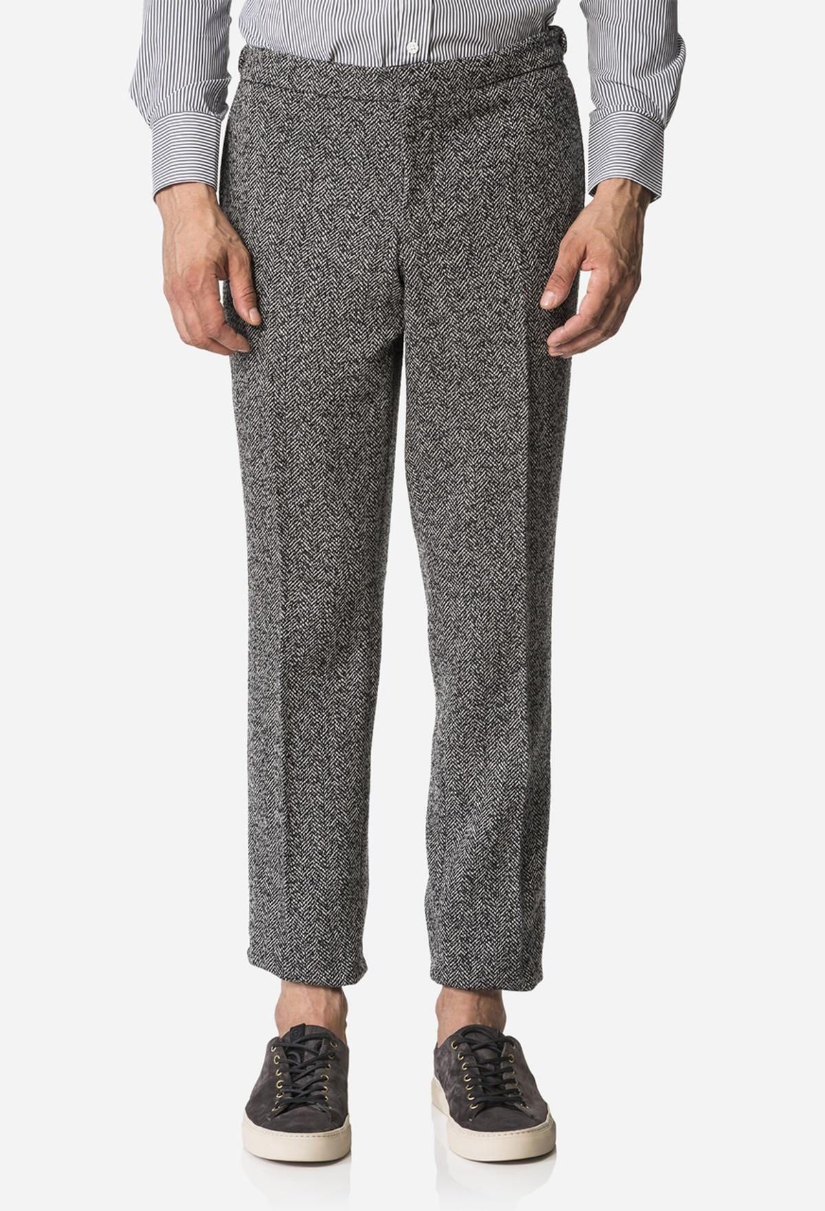 Black/White Herringbone Slim Leg Trouser
