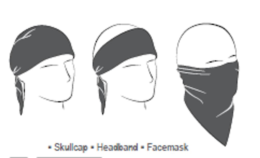 3-IN-1 Headband System, 100% Cotton, Black Paisley, Velcro