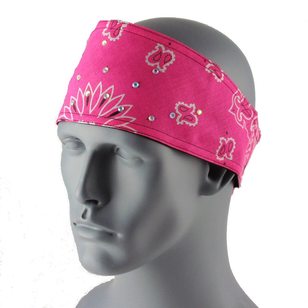 Paisley Neon Pink Bling Head Wrap With Hook & Loop Strap