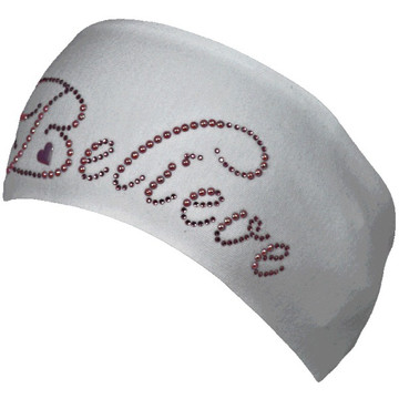 Large Believe Sunspark Rhinestone Stretch HeadBand