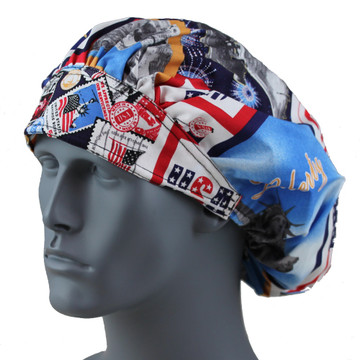Bouffant Style Scrub Cap - Eagle Patches - By NoMoreKnots
