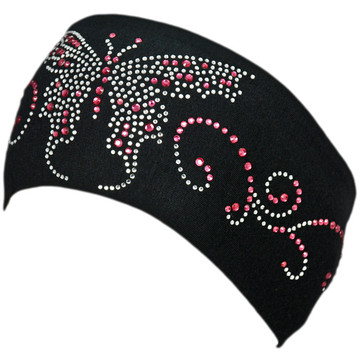 Clear & Pink Rhinestone Butterfly Stretch HeadBand