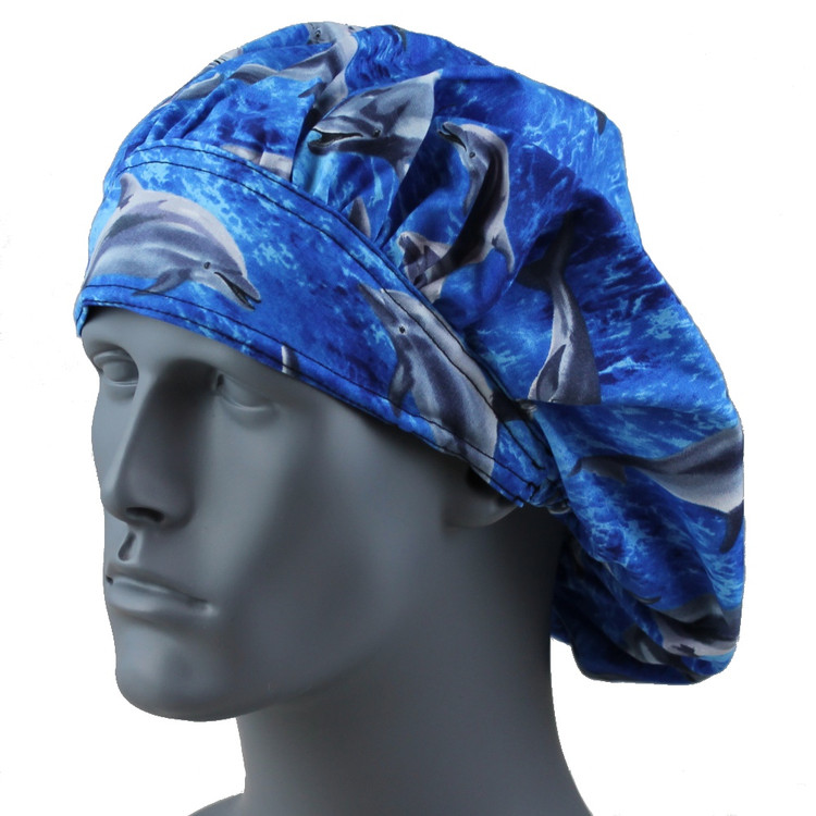Bouffant Style Scrub Cap - Sea Dolphins - By NoMoreKnots
