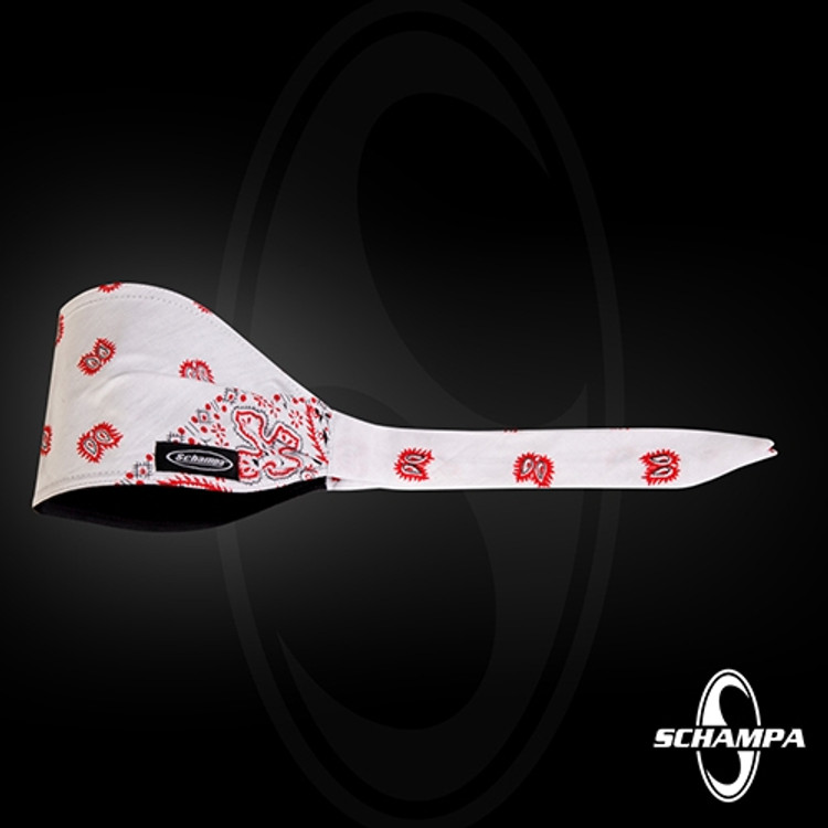 """Old School"" Bandanna - White Ground - Red & White Paisley"