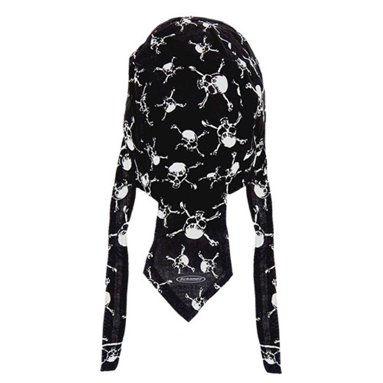 Rider Headwrap - Linked Skull & Cross-bones - Black & White