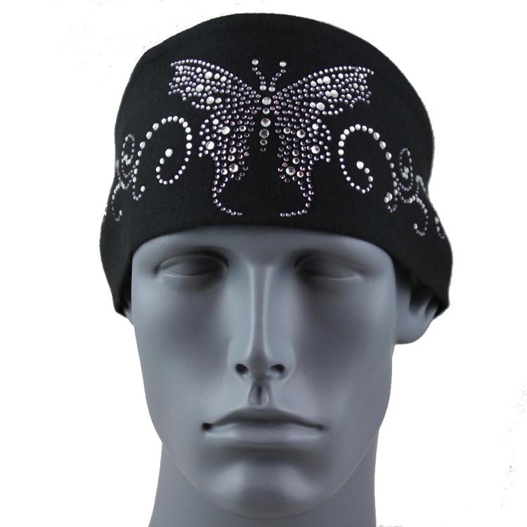 Black Diamond Rhinestone Butterfly Stretch HeadBand