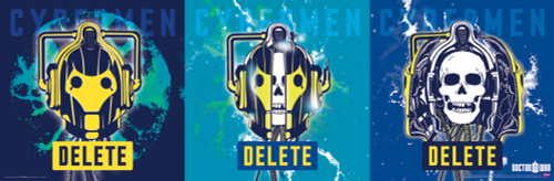"Cyberman Triptych Poster 36"" X 11.75"