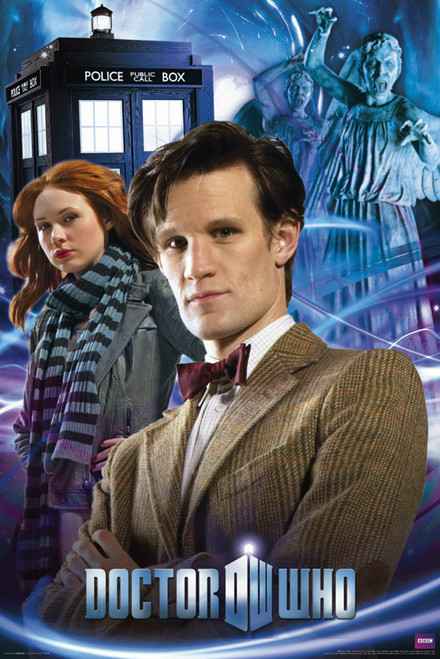 """The 11th Doctor, Amy, Weeping Angels and The TARDIS Poster 24"""" X 36"""""""